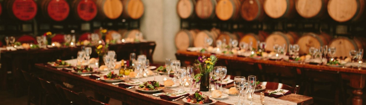 Photo of a set wedding table at Rappahannock Cellars Barrel Room