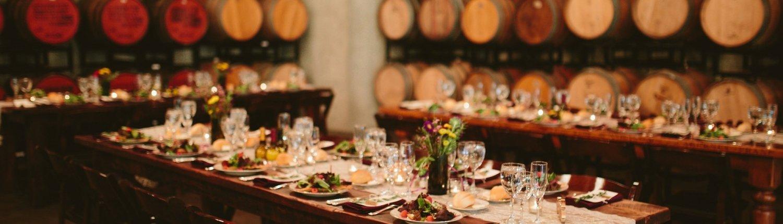 set wedding table at Rappahannock Cellars Barrel Room