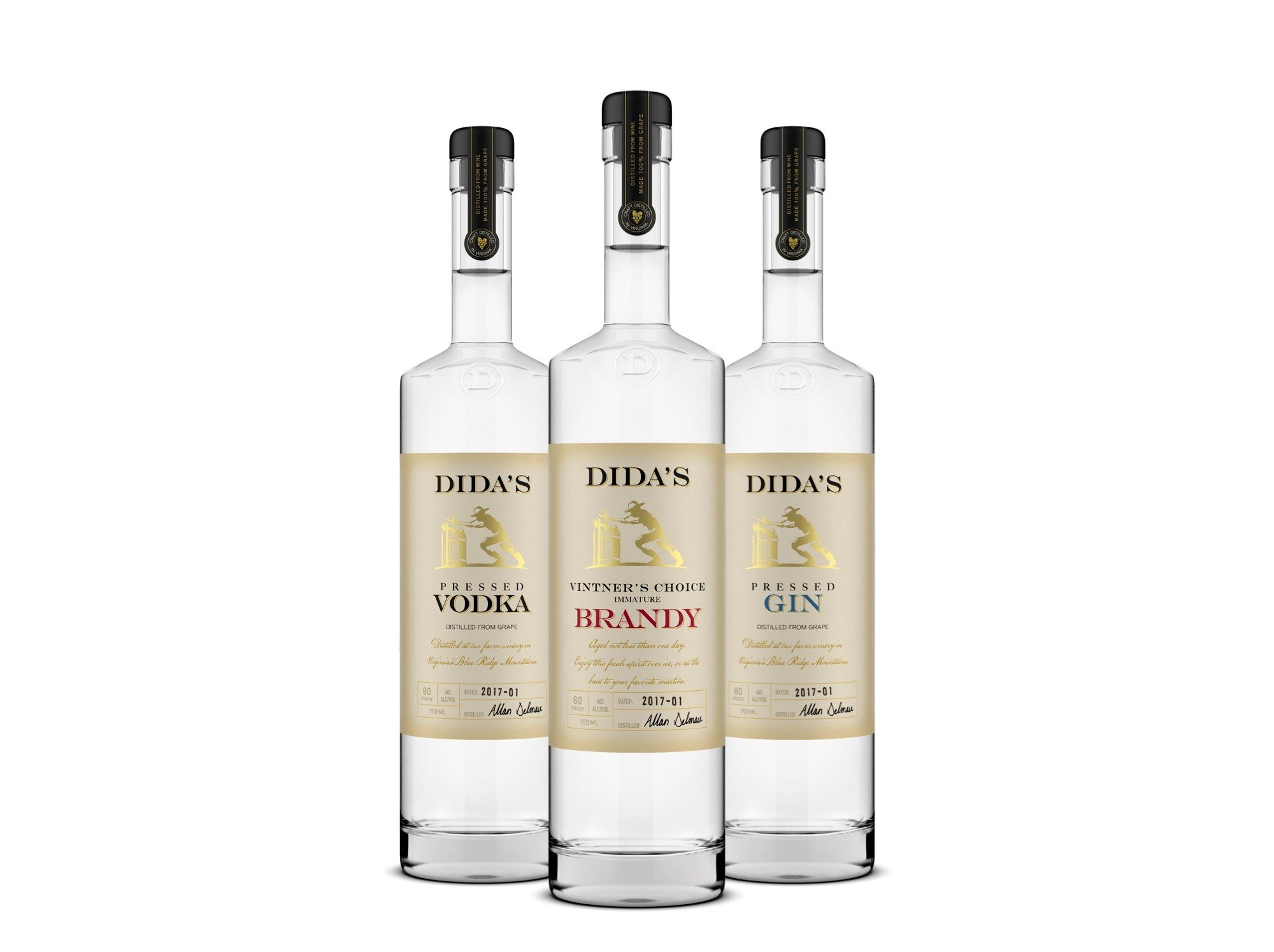 bottles of Dida's Vodka, Brandy, and Gin